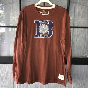 Old Navy men's long sleeve t-shirt, rust with blue